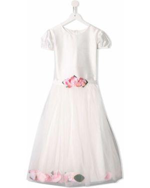 Платье с рукавами с вырезом круглое с аппликациями на молнии Lesy