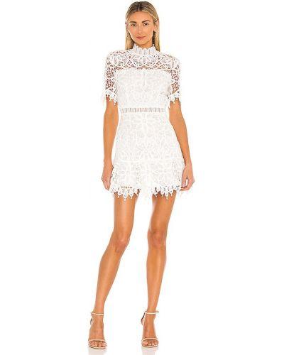 Хлопковое кружевное белое платье мини Saylor
