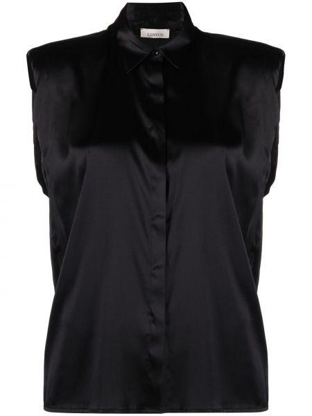 Шелковая черная классическая рубашка с воротником Laneus