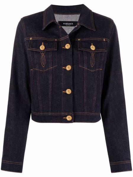 Синяя укороченная джинсовая куртка классическая Versace