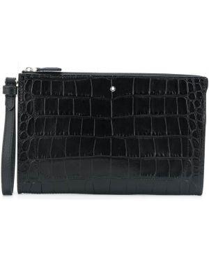 Черный с ремешком кожаный клатч Montblanc