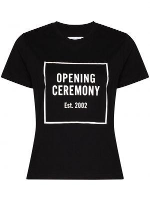 Хлопковая черная футболка с круглым вырезом с короткими рукавами Opening Ceremony