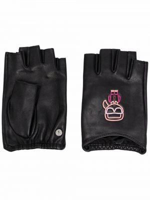 Czarne rękawiczki bez palców skorzane z haftem Karl Lagerfeld