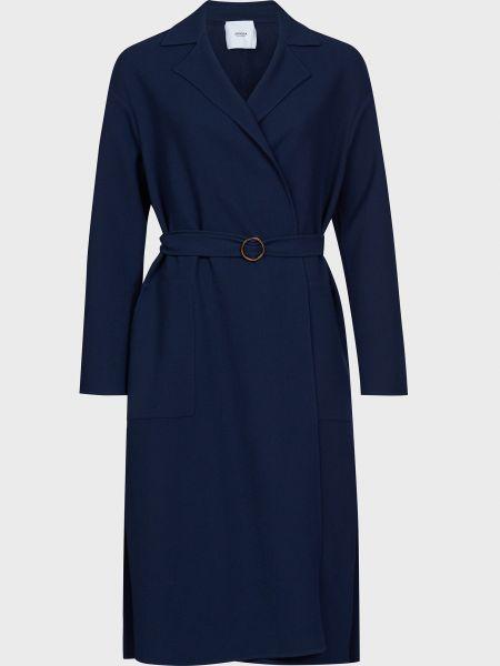 Синее шерстяное пальто с капюшоном Agnona