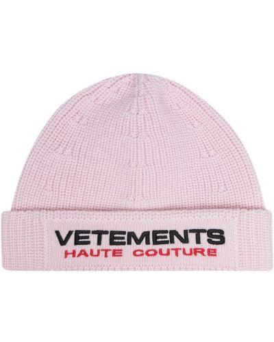Шерстяная шапка бини - розовая Vetements