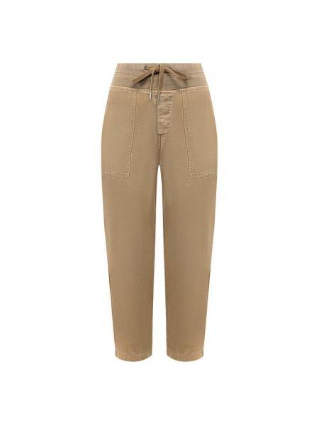Хлопковые брюки хаки James Perse