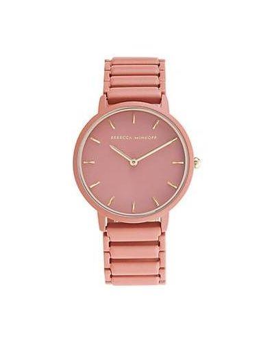 Różowy zegarek kwarcowy elegancki srebrny Rebecca Minkoff
