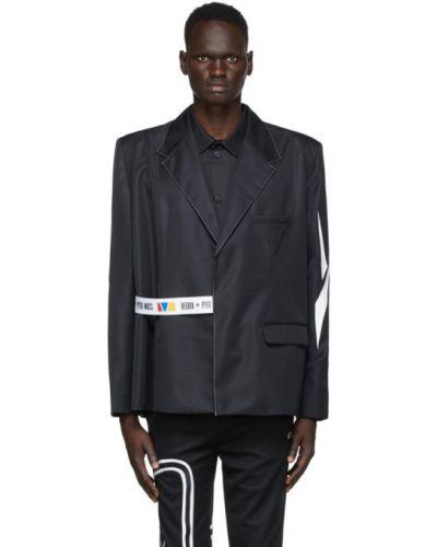Черный пиджак с карманами с воротником из габардина Reebok By Pyer Moss