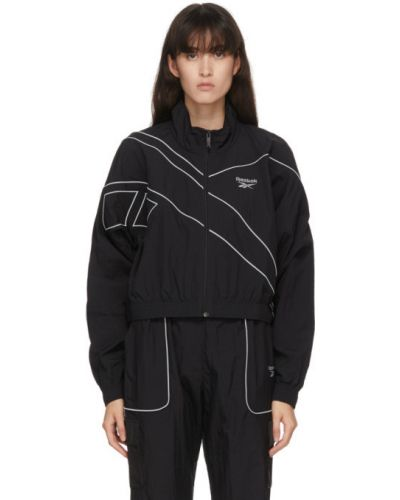Черная нейлоновая длинная куртка с манжетами с воротником Reebok Classics