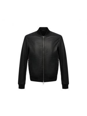 Черная кожаная куртка из полиуретана Emporio Armani