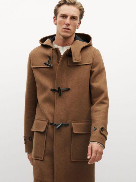 Коричневое шерстяное пальто с капюшоном Mango Man