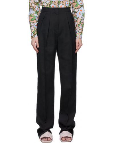 Хлопковые черные брюки с карманами Sportmax