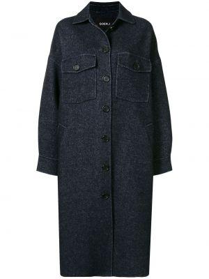Синее шерстяное длинное пальто оверсайз Goen.j