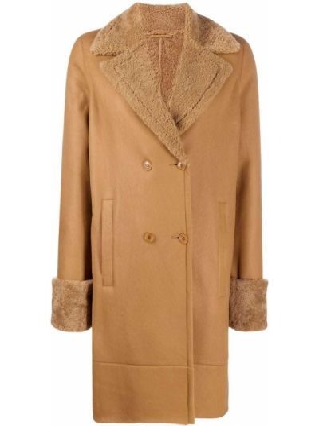 Коричневое кожаное длинное пальто двубортное Inès & Maréchal