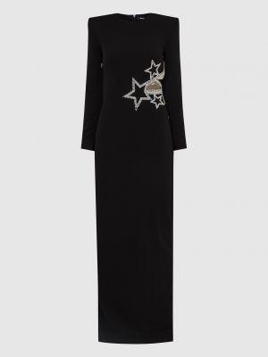 Платье макси с вышивкой - черное Balmain
