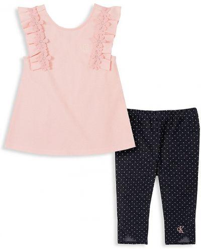 Хлопковый розовый прямой топ без рукавов Calvin Klein