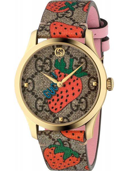 С ремешком кожаные серые часы на кожаном ремешке Gucci