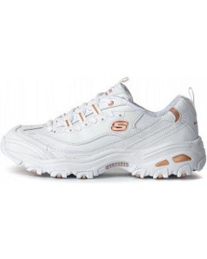 Спортивные белые текстильные кроссовки на шнуровке Skechers