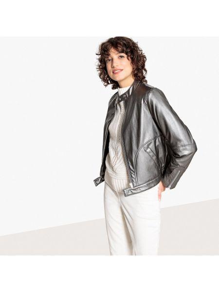 Кожаная куртка на молнии укороченная La Redoute Collections