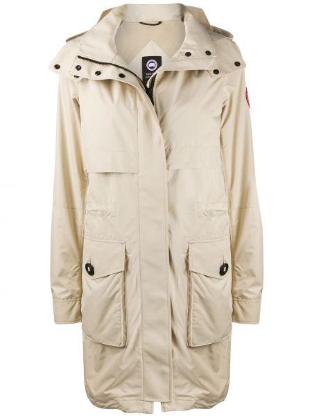 Нейлоновый длинное пальто с поясом на пуговицах Canada Goose