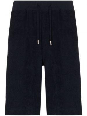 С кулиской хлопковые синие короткие шорты на резинке Sunspel