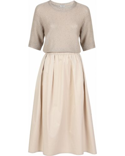 Хлопковое платье - бежевое Peserico