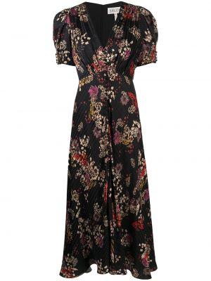 Czarna sukienka mini rozkloszowana krótki rękaw Saloni