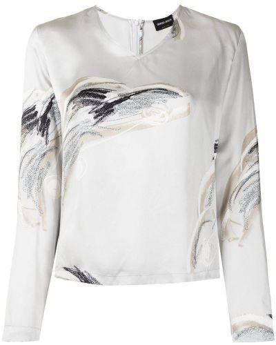 Серая блузка с длинными рукавами Giorgio Armani