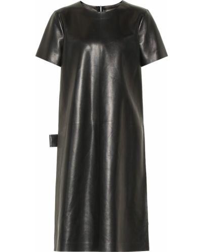 Платье кожаное черное Bottega Veneta