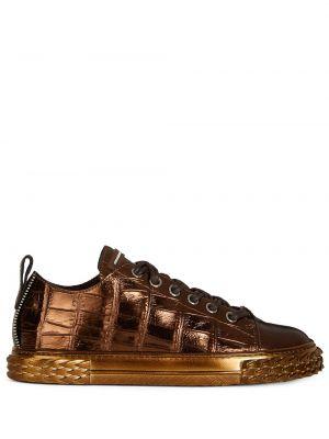 Ażurowy skórzany sneakersy złoto zasznurować Giuseppe Zanotti
