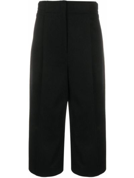 Spodni wełniany czarny przycięte spodnie z kieszeniami Lemaire