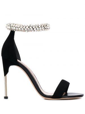 Sandały czarne z klamrami Alexander Mcqueen