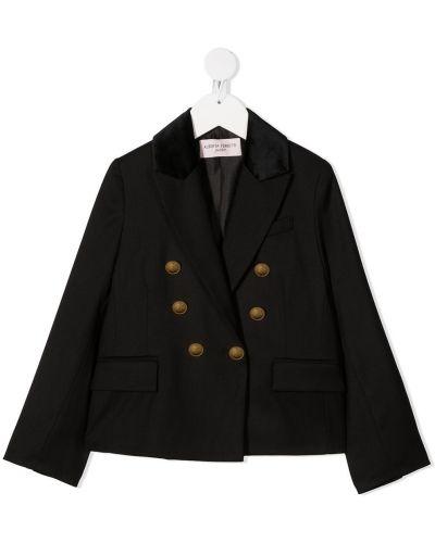 Бархатный черный удлиненный пиджак двубортный Alberta Ferretti Kids