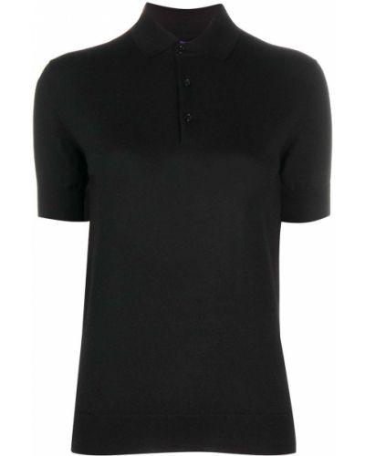 Черная кашемировая рубашка с коротким рукавом с воротником на пуговицах Ralph Lauren
