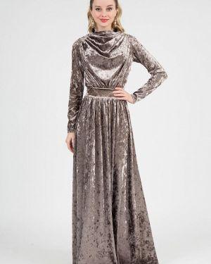 Вечернее платье осеннее бежевое Marichuell