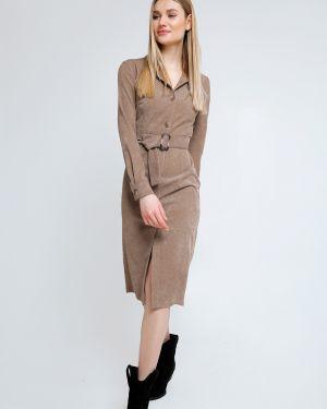 Приталенное платье миди с воротником вельветовое с поясом Cardo