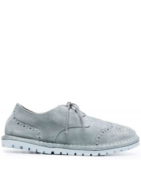 Ażurowy skórzany buty brogsy okrągły nos Marsell