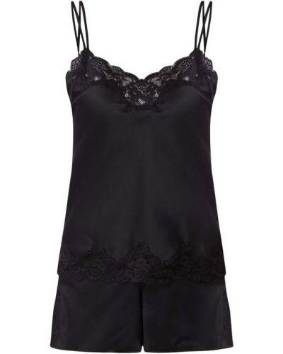 Ażurowa satynowa czarna piżama Lauren Ralph Lauren