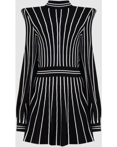 Платье миди в полоску - черное Balmain