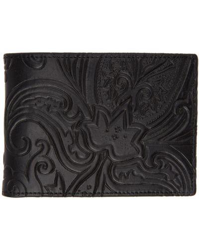 Czarny portfel na monety z gniazdem wytłoczony prążkowany Etro