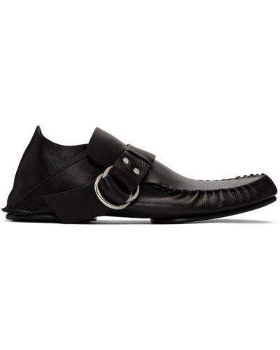 Мягкие черные кожаные мокасины Loewe