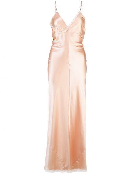 Jedwab z paskiem różowy długo sukienka na paskach Alexander Wang