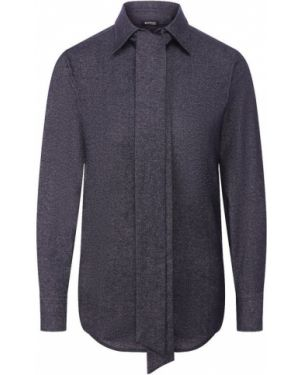 Шерстяная рубашка - синяя Kiton