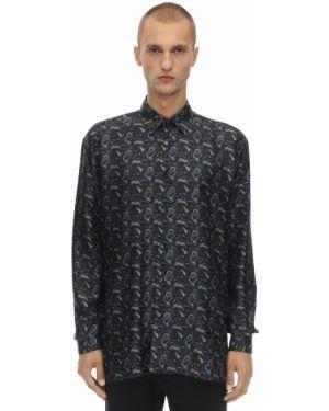 Klasyczna czarna klasyczna koszula z jedwabiu Triple Rrr