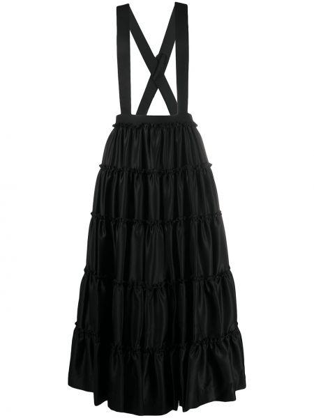 Шерстяная черная с завышенной талией юбка со вставками Comme Des Garçons Noir Kei Ninomiya