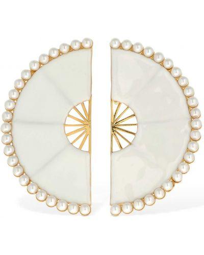 Białe kolczyki sztyfty perły Rowen Rose