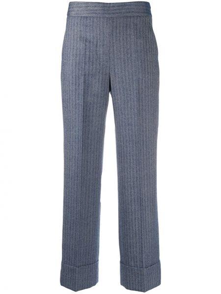 Прямые с завышенной талией брюки в полоску Incotex