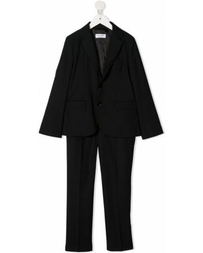 Czarny garnitur zapinane na guziki z długimi rękawami Paolo Pecora Kids