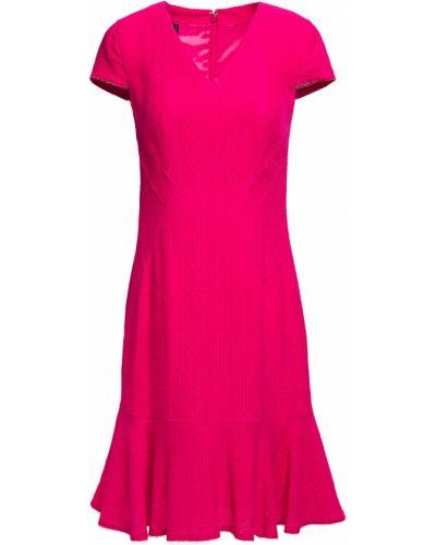 Расклешенное шерстяное розовое платье Talbot Runhof