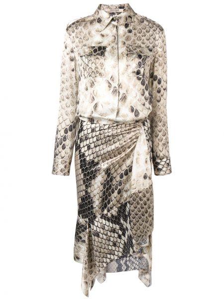 Приталенное классическое кожаное платье миди с баской Roberto Cavalli